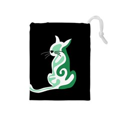 Green abstract cat  Drawstring Pouches (Medium)
