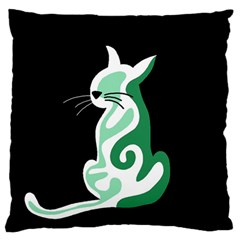 Green abstract cat  Standard Flano Cushion Case (One Side)