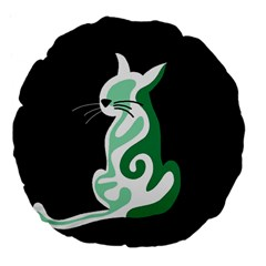 Green abstract cat  Large 18  Premium Flano Round Cushions
