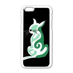 Green abstract cat  Apple iPhone 6/6S White Enamel Case