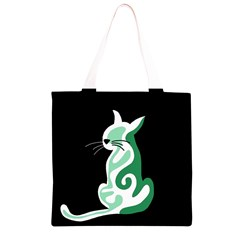 Green abstract cat  Grocery Light Tote Bag