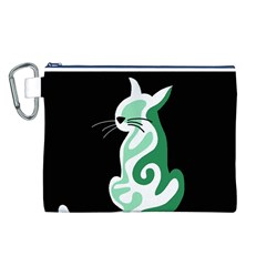 Green abstract cat  Canvas Cosmetic Bag (L)