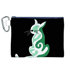 Green abstract cat  Canvas Cosmetic Bag (XL)