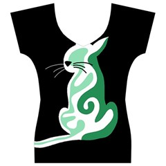 Green abstract cat  Women s V-Neck Cap Sleeve Top