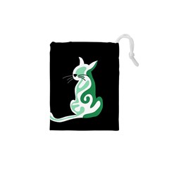 Green abstract cat  Drawstring Pouches (XS)