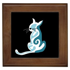 Blue abstract cat Framed Tiles