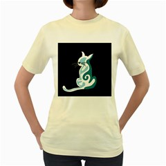 Blue abstract cat Women s Yellow T-Shirt