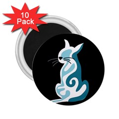 Blue abstract cat 2.25  Magnets (10 pack)