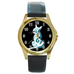 Blue abstract cat Round Gold Metal Watch
