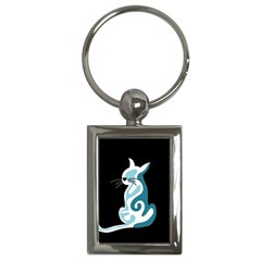Blue abstract cat Key Chains (Rectangle)