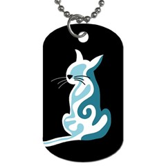 Blue abstract cat Dog Tag (Two Sides)