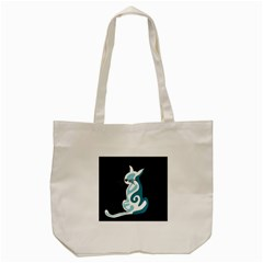Blue abstract cat Tote Bag (Cream)