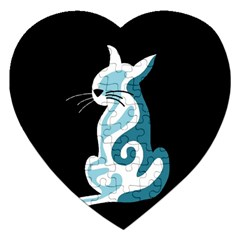 Blue abstract cat Jigsaw Puzzle (Heart)