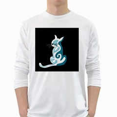 Blue abstract cat White Long Sleeve T-Shirts