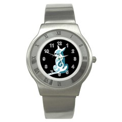 Blue abstract cat Stainless Steel Watch