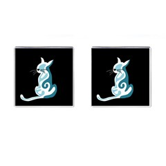 Blue abstract cat Cufflinks (Square)