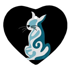 Blue abstract cat Heart Ornament (2 Sides)
