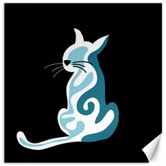 Blue abstract cat Canvas 20  x 20