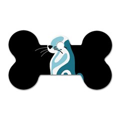 Blue abstract cat Dog Tag Bone (One Side)