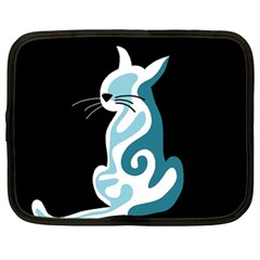 Blue abstract cat Netbook Case (Large)