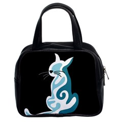 Blue abstract cat Classic Handbags (2 Sides)