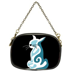 Blue abstract cat Chain Purses (One Side)