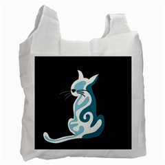 Blue abstract cat Recycle Bag (Two Side)