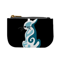 Blue abstract cat Mini Coin Purses