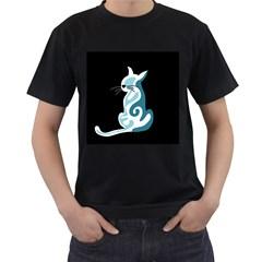 Blue abstract cat Men s T-Shirt (Black)