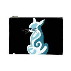 Blue abstract cat Cosmetic Bag (Large)