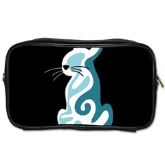 Blue abstract cat Toiletries Bags