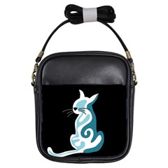 Blue abstract cat Girls Sling Bags