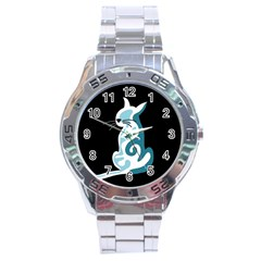 Blue abstract cat Stainless Steel Analogue Watch