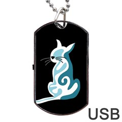Blue abstract cat Dog Tag USB Flash (Two Sides)