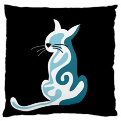 Blue abstract cat Large Cushion Case (Two Sides)