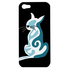 Blue abstract cat Apple iPhone 5 Hardshell Case