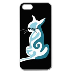 Blue abstract cat Apple Seamless iPhone 5 Case (Clear)