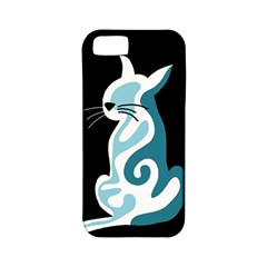 Blue abstract cat Apple iPhone 5 Classic Hardshell Case (PC+Silicone)