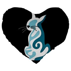 Blue abstract cat Large 19  Premium Heart Shape Cushions