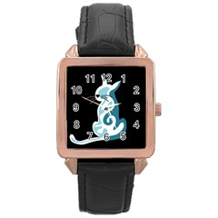 Blue abstract cat Rose Gold Leather Watch