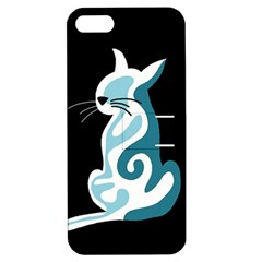 Blue abstract cat Apple iPhone 5 Hardshell Case with Stand