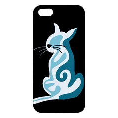 Blue abstract cat Apple iPhone 5 Premium Hardshell Case