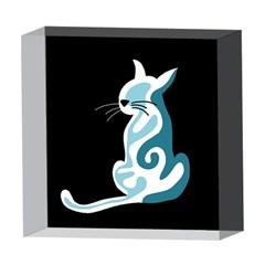 Blue abstract cat 5  x 5  Acrylic Photo Blocks