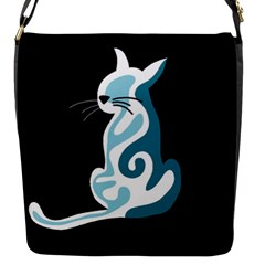 Blue abstract cat Flap Messenger Bag (S)