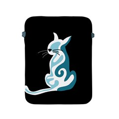 Blue abstract cat Apple iPad 2/3/4 Protective Soft Cases