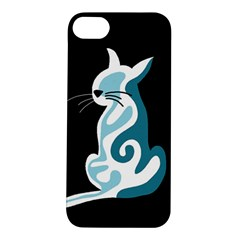 Blue abstract cat Apple iPhone 5S/ SE Hardshell Case