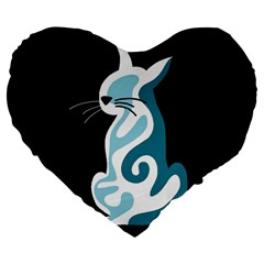 Blue abstract cat Large 19  Premium Flano Heart Shape Cushions