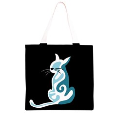 Blue abstract cat Grocery Light Tote Bag