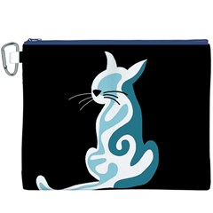 Blue abstract cat Canvas Cosmetic Bag (XXXL)