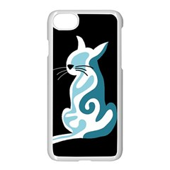 Blue Abstract Cat Apple Iphone 7 Seamless Case (white)